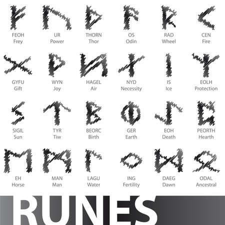 Conjunto de símbolos de iconos de ilustraciones de runas vector