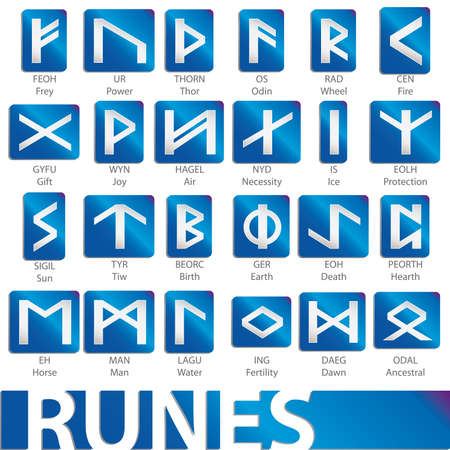 norse: set of runes Illustration