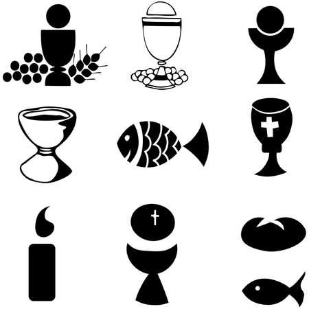 kelch: Satz von Illustration einer Religionsgemeinschaft, die Darstellung der traditioneller christlicher Symbolen, einschlie�lich Kerze (Licht), Kelch, Trauben (Wein), Ohr, Kreuz und Brot  Illustration