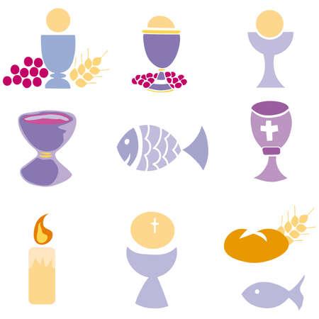 pane e vino: Set di illustrazione di una comunione che raffigurano simboli cristiani tradizionali, tra cui la candela (luce), calice, uva (vino), orecchio, Croce e pane  Vettoriali