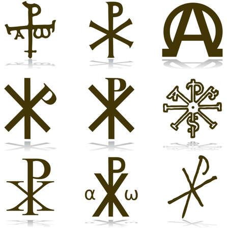 Impostare cristiano. vari simboli religiosi
