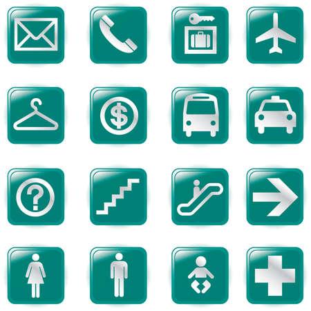 Aeropuerto y viajes iconos, archivo de pictograma