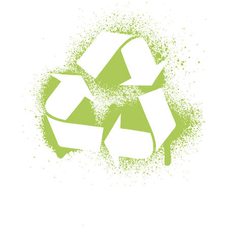 recycling symbol: illustration of an ink splatter recycle symbol design element.  Illustration