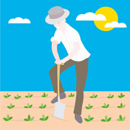 sowing:  a Farmer sowing seeds illustration cartoon