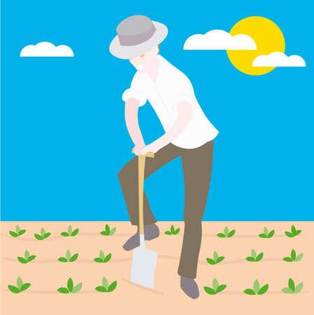 siembra: un agricultor siembra semillas de dibujos animados de la ilustraci�n  Vectores