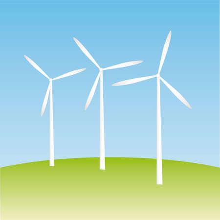 Windmill on the field  illustration cartoon Stock Vector - 6854752