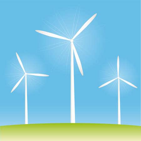 Windmill on the field illustration cartoon Vektorové ilustrace