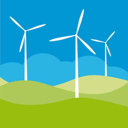 energize: windmill on the field vector illustration cartoon  Illustration