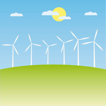 electrics: windmill on the field illustration cartoon