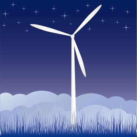 windmill on the field vector illustration cartoon  Vector