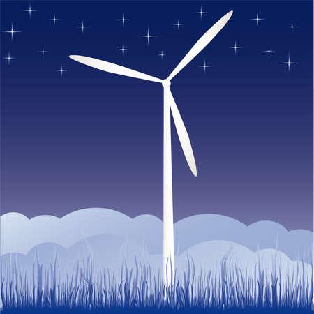 windmill on the field vector illustration cartoon  Vector