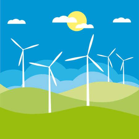 windmill on the field  illustration cartoon  Vector