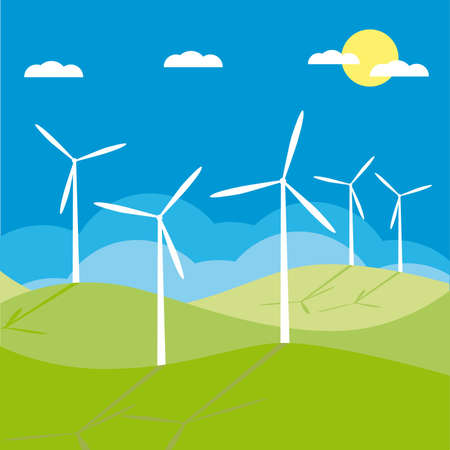 windmill on the field  illustration cartoon  Vector
