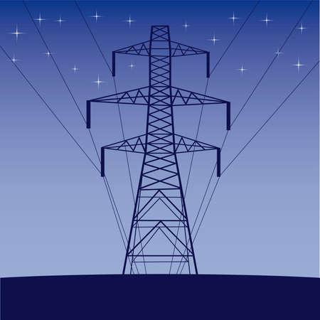 hoogspanningsmasten: silhouet van hoge spanning elektrische lijn tegen blauwe hemel