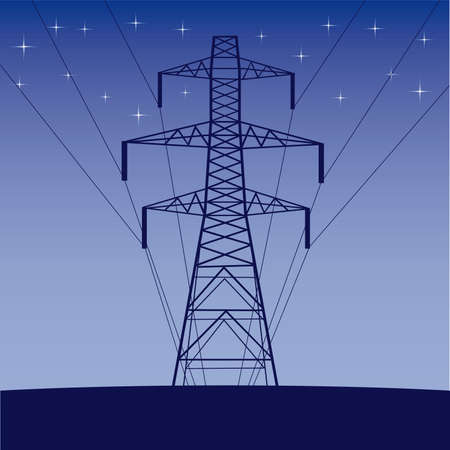 Silhouette wysokiego napięcia linii elektrycznych przeciw błękitne niebo
