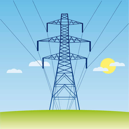 pylons: silhouette of high voltage electric line against blue sky