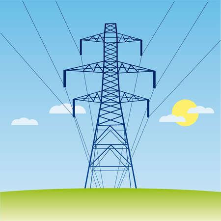 torres de alta tension: silueta de línea eléctrica de alto voltaje contra el cielo azul