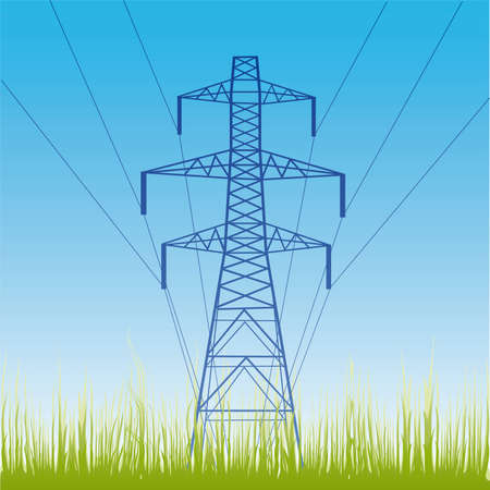 silhouette of high voltage electric line against blue sky  Vector
