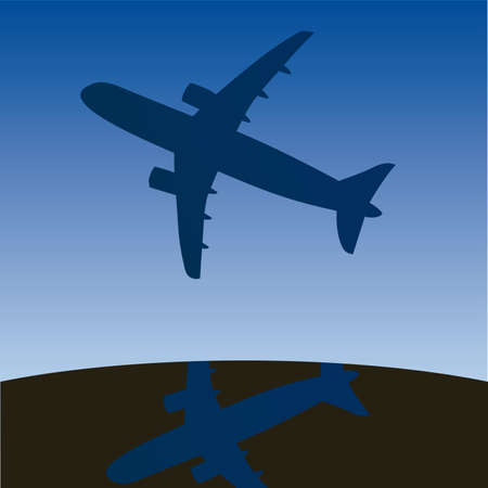 aero: Airplane aero aviation silhouette. cartoon illustration.  Illustration