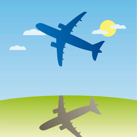 overnight: Silhouette di aviazione aero aeroplano. illustrazione dei cartoni animati.
