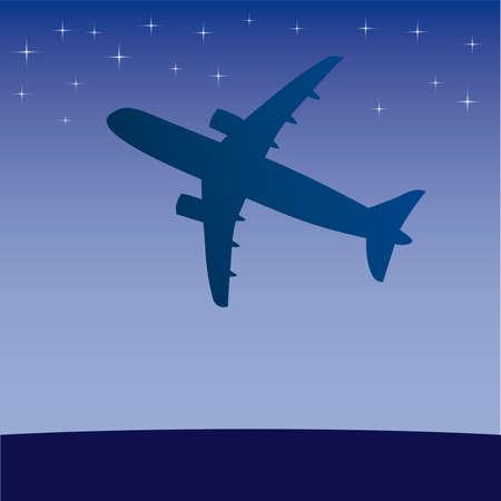 Airplane aero aviation silhouette. cartoon illustration. Stock Vector - 6860216