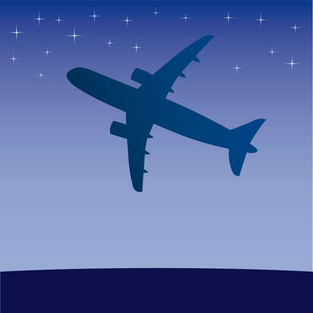 Airplane aero aviation silhouette. cartoon illustration. Stock Vector - 6860216