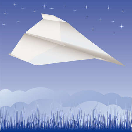 Paper plane in the air  illustration cartoon  Stock Vector - 6860222