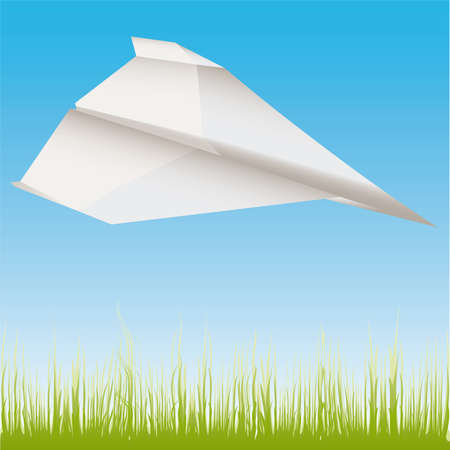 Paper plane in the air  illustration cartoon Stock Vector - 6860225