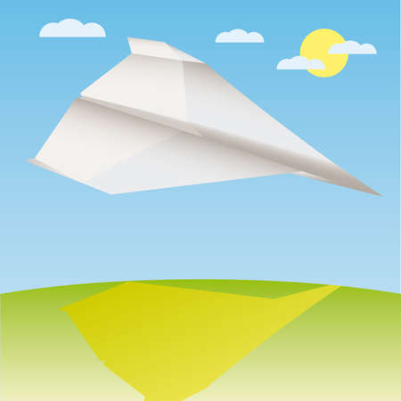 postmodern: Paper plane in the air  illustration cartoon