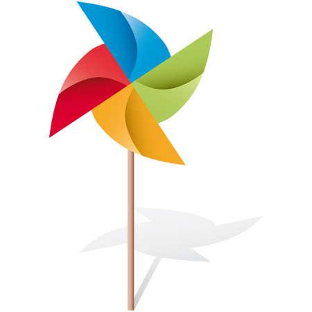 wind wheel: mulino a vento colorate origami illustrazione  Vettoriali