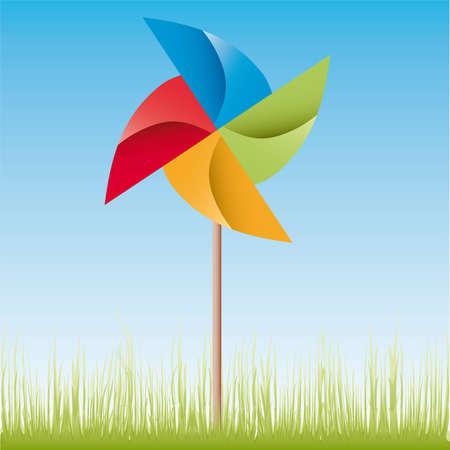 perinola: Ilustraci�n de origami de molino de viento coloridos