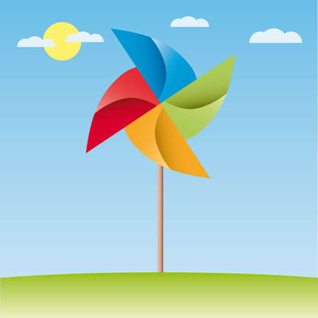 pinwheel toy: colorful windmill v origami illustration