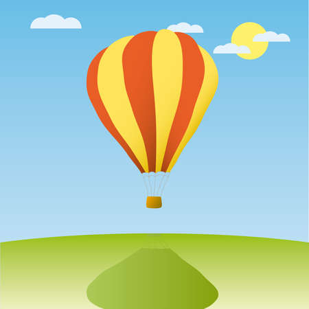 Hot air balloon in the blue sky (other sky views are in my gallery)  Vector