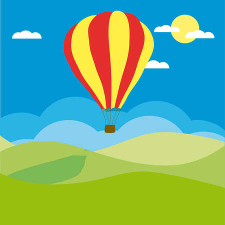 aerostat: Hot air balloon in the blue sky (other sky views are in my gallery)