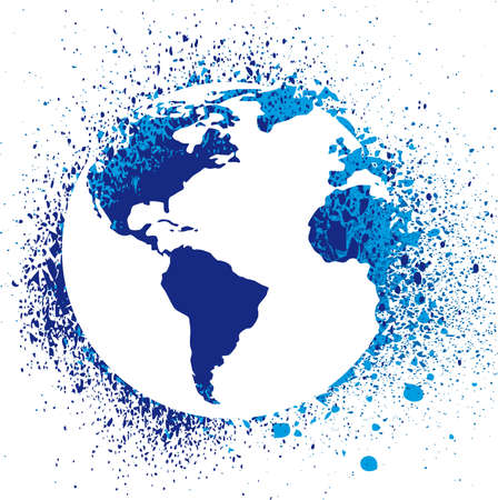 asia globe: Globe ink splatter illustration. Grunge