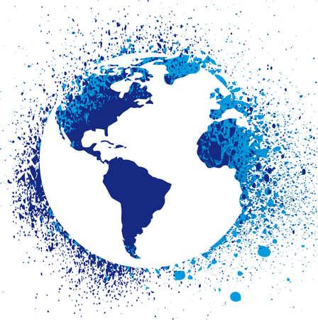 globo terraqueo: Ilustraci�n de Gore de tinta de globo. Grunge  Vectores