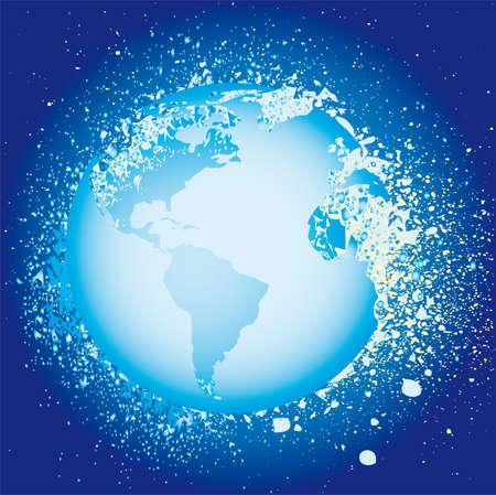 Globe ink splatter illustration. Grunge  Vector