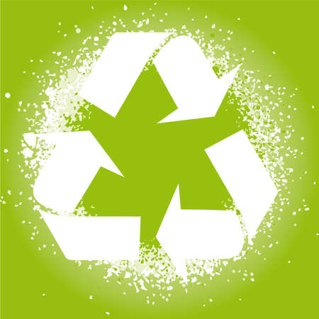 illustration of an ink splatter recycle symbol design element. Stock Vector - 6884198