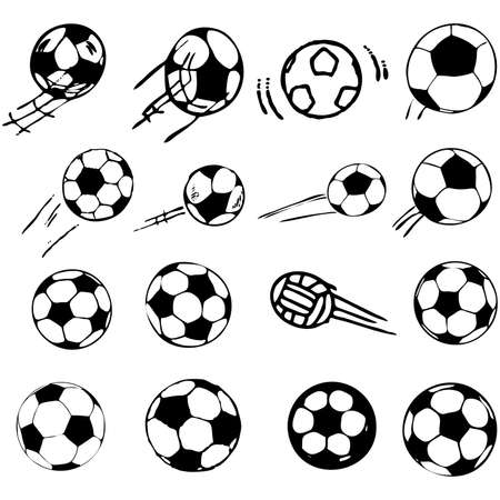 soccer ball set comic cartoon illustration Vector