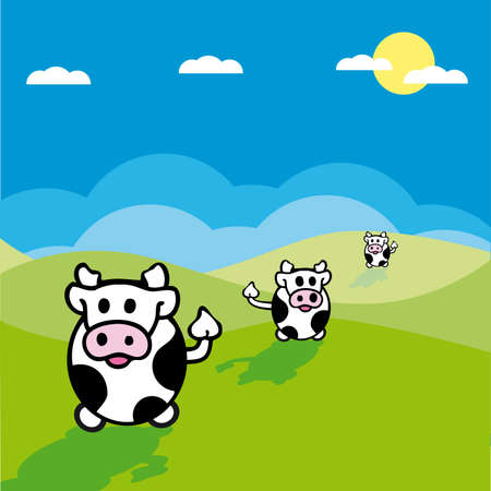 grassy field: illustration of cows in a grassy field with blue sky