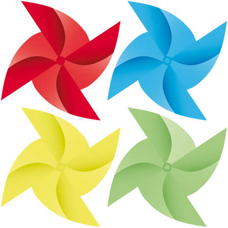 colorful windmill  origami illustration