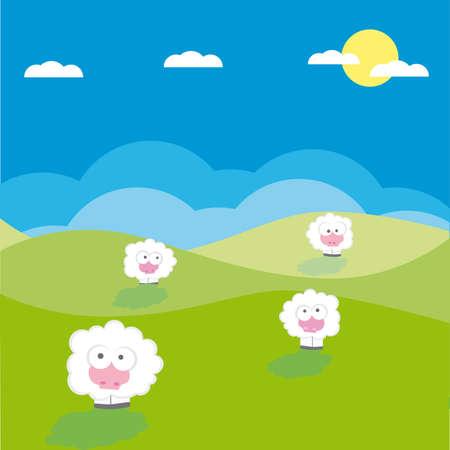 image lamb: Sheep on the field  illustration cartoon  Illustration