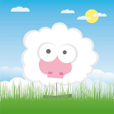 image lamb: Sheep on the field illustration cartoon
