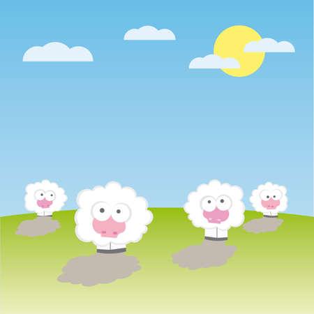 Sheep on the field  illustration cartoon  Vector