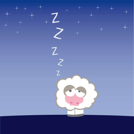 Sheep on the field illustration cartoon  Vector
