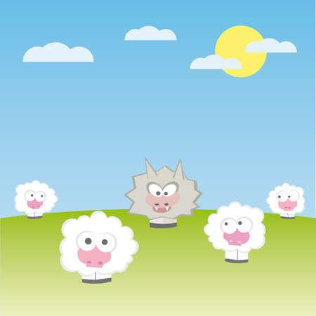 pecore con lupo illustrazione cartoon  Vettoriali