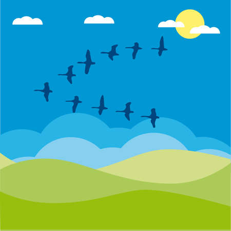 Birds migratory illustration cartoon Stock Vector - 6919053