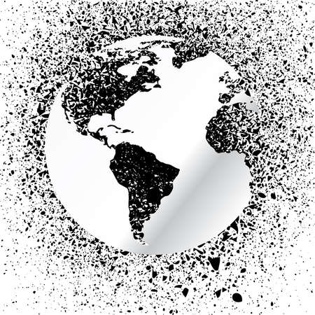 blob: Globe ink splatter illustration. Grunge