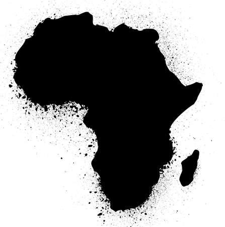 cartina africa: Mappa grunge con bandiera di illustrazione inchiostro africano