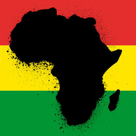 grunge map with flag of african ink illustration